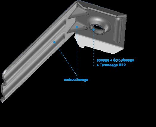 Process emboutissage d'une pièce en 3D
